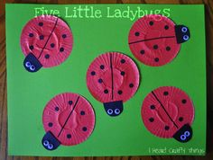 Five Little Ladybugs Craft made out of red cupcake liners from I Heart Crafty Things.