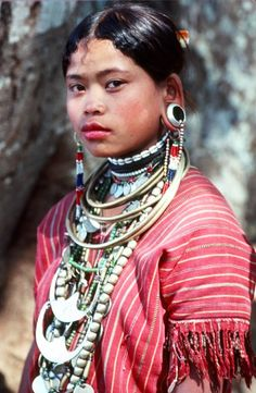 Vanishing Tribes of Burma - Burma is home to a vast collection of different ethnic groups and clans who for centuries have followed ancient migration routes from India, south-west China, Tibet and Assam.They wear  jewels made from silver, colorfully beaded in multiple layers.  #jewelry #tradition #lifestyle