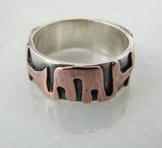 Sterling silver ring with abstract copper accents  by prox on Etsy