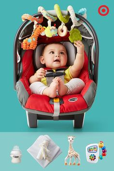A busy baby is a happy baby, especially during car rides! The Chicco KeyFit 30 Infant Car Seat with a thick, cushioned seat, 5-point harness and energy-absorbing foam will keep your baby comfy and secure, and a variety of toys, blankets and bottles will keep them entertained.