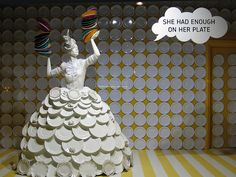 """She had enough on her plate  Selfridges window display, 2006, London"""