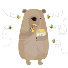 Honey Thief - Bear and Bees Digital Clip Art Clipart Set - Personal and Commercial Use