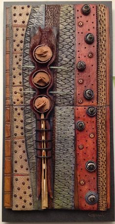 by Vicki Grant ___ceramics Clay Wall Art, Ceramic Wall Art, Ceramic Clay, Wood Wall Art, Ceramic Boxes, Found Object Art, Clay Tiles, Assemblage Art, Gourd Art