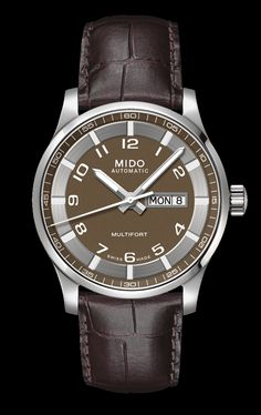 Mido Men's Mutlifort with brown and gray dial and leather band style #: M005.430.16.292.12 www.midowatch.com