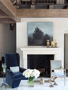Refined Rustic, Plaster Walls, Wood Beams, Stone Mantel, Wrought Iron (no double height space) Fireplace Surrounds, Fireplace Design, Living Room Inspiration, Interior Design Inspiration, Living Room Decor, Living Spaces, Living Rooms, Family Room, Home And Family