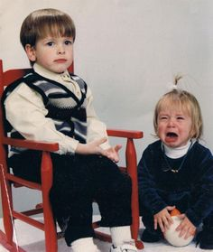 15 Awkward Sibling Photos--Just Let It Out--It's easy to see who's going to be the one that holds their emotions in and the one who lets them out.