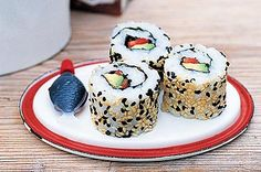 Inside-out sushi rolls      These inside-out sushi rolls will turn your taste-buds upside-down.  Makes    32