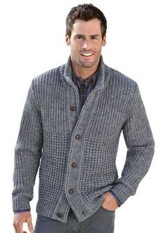Wear a lace cardigan today! See how a lace cardigan can give your added appeal right here. Knit Jacket, Wool Cardigan, Grey Cardigan, Herren Outfit, Mens Jumpers, Cardigan Fashion, Jacket Pattern, Pulls, Hand Knitting