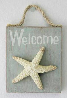 Coastal decor, beach art and furniture. You can improve the natural beauty in your home with splashes of white, as well as beach house decorating ideas. Seashell Crafts, Beach Crafts, Diy Wanddekorationen, Deco Marine, Beach Signs, Beach House Signs, Shell Art, Beach Art, Beach Wood
