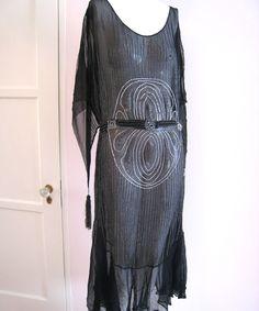 Art Deco 1920s Beaded flapper Dress Black Silk Chiffon Tassel & Self Belt