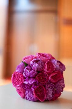 Stunning vibrant colors for a bridal bouquet. #pinkandpurpleflowers #peonies #bridalbouquet