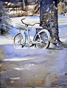 Waiting For Spring by Spencer Meagher Watercolor ~ 16 x 12