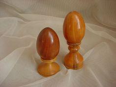 2 Wooden Eggs Pedestal Bases Sculptural Decorator find Signed Del Hand Crafted Seller florasgarden on ebay