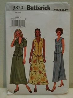 Sewing patterns 3 tops skirt size 14 16 18 Butterick 3870 New #Butterick