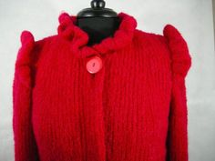 Red-Wool-Knit-Paris-Jacket-Sweater-Chanchi-Puff-Shoulder-Vintage-Lined-80-039-s