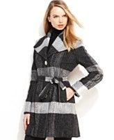 MICHAEL Michael Kors Coat, Tweed Plaid Wool-Blend Belted