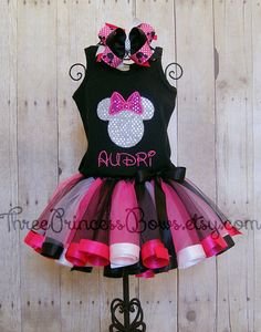 Mouse Head with Bow Ribbon Trim Tutu by ThreePrincessBows on Etsy, $80.00