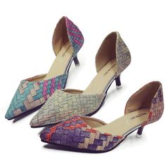 Women Mid Kitten Heel Court Shoes Pumps Pointed Toe Rainbow Office Colorful Thin #Unbranded #Casual