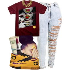 Yellow  maroon, created by fashionablythick on Polyvore