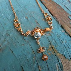 ANTIQUE Art Nouveau Diamond and Blue Topaz Filigree Lavaliere Necklace / Lavalier Pendant in 10K Yellow Gold