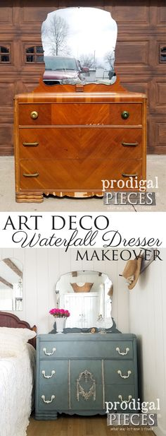This vintage Art Deco waterfall dresser got a fresh new look by a tween girl. It really can be fun to DIY! See the details at Prodigal Pieces | prodigalpieces.com #prodigalpieces #homedecor #furniture #vintage #shopping #paintedfurniture