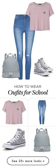 """Back to school"" by pocok01 on Polyvore featuring MANGO, Converse and MICHAEL Michael Kors"