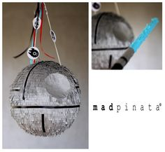 Star Wars piñata. Death Star. May the 4th be with you! Birthday party. Created by Mad pinata. #starwarspinatadeathstar