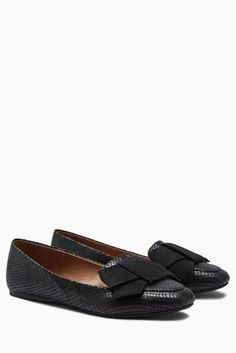 Buy Black Bow Loafers from the Next UK online shop