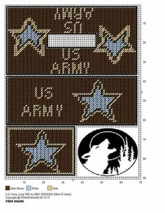 Lg. Army tbc Plastic Canvas Coasters, Plastic Canvas Tissue Boxes, Plastic Canvas Crafts, Plastic Canvas Patterns, Crochet Skull Patterns, Cross Stitch Patterns, Military Ribbons, Tissue Box Covers, Tissue Holders
