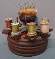 Antique Walnut Thread Stand (via Louise Stutterheim, Needles & Pins...)