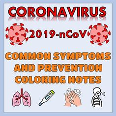 Coronavirus Common Symptoms and Prevention Coloring Notes Doodle Pages, Health Organizations, One Color, Elementary Schools, Icon Design, Acting, Doodles, Classroom, Notes