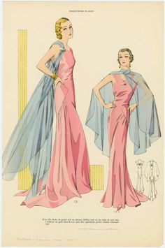 Robe de grand soir en velours chiffon rose ou en crêpe de soie mat ; L'écharpe en gaze bleu-de-roy peut être également p... (193-)