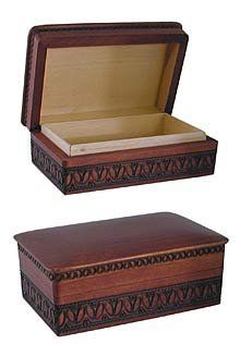 """Carved Wooden Treasure Box by Other Stuff. $25.95. This beautiful carved wooden box measures 6"""" by 4"""". The perfect storage or display space for your special treasure."""