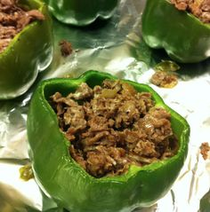 Philly cheesteak stuffed peppers no rice...added spicy sausage to the steak. Very good!