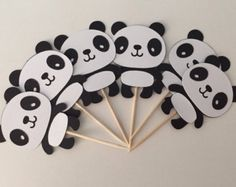 12 Panda Cupcake Toppers Wildlife Theme First by thepartypenguin