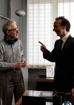 Photography  (Woody Allen & Roberto Benigni on the set of To Rome with Love, via tarkowski)