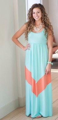 Mint and Coral Maxi Dress | The Jean Girl Shop