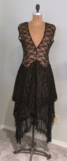 Vtg~1920s Style~LACE DRESS~Black~DEEP V NECK~GATSBY~Flapper~Asymmetrical Skirt~M #AsymmetricalHem #Party