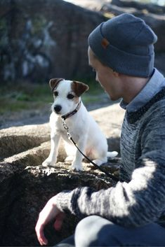 Cute Jack russel terrier with a man. Fall and summer outfit for Men with wool Beanie.