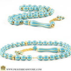Silver Enamel Turquoise Prayer Beads with Silver Chain #prayerbeads #tasbih #worrybeads