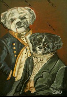 A5 ACRYLIC  bro dog portrait- by Emily Willmott