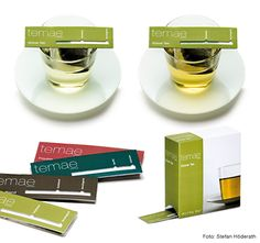Innovative new tea packaging by German designer Janja Maidl. The tea bag is put with the label on the cup edge and presents a strip that indicates the desired intensity of the tea.  Each tea variety has a special paper strip which the tea climbs up as it steeps to show when it is ready.  PD
