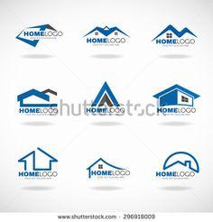 Blue and gray Home logo set vector design royalty free illustration Web Design, Vector Design, Logo Inspiration, Arquitectura Logo, Roofing Logo, Roofing Felt, Logo Foto, Logo Branding, Branding Design
