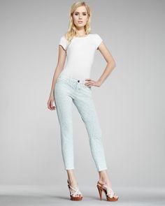The Stiletto Mint Leopard-Print Jeans by Current/Elliott at Neiman Marcus.