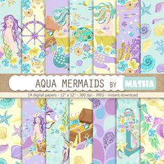 AQUA MERMAIDS digital papers  14 SEAMLESS digital papers with mermaid, anchor, navy wheel, exotic fi #mermaid #digital #paper #summer #pattern #planner #stickers #etsy #shop #supplies #graphics #scrapbooking