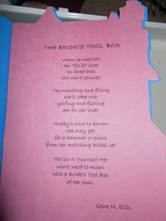 After- Poem included with Bride's Toolbox