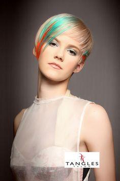 Tangles Salon, Wichita Falls, TX. Hair Color, Goldwell Hair Color, Hair Style, Hair, Runway Hair, Aqua Hair, Blue Hair, Orange Hair, Short Hair
