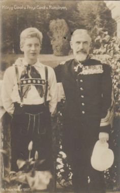 Late King Carol of Romania w charming grand nephew Prince Carol RARE 1907 pcd Michael I Of Romania, Romanian Royal Family, Queen Victoria Family, Victorian Life, Central And Eastern Europe, Young Prince, Rich Kids, Rare Pictures, Royal House