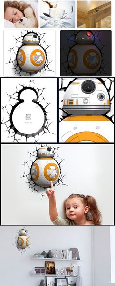 Star Wars BB-8 Shape 3D Wall Lamp