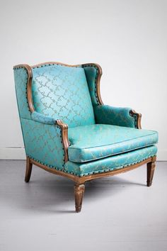 Vintage Teal Ornate Embroidered Wingback ARMCHAIR for sale in Chicago   HipSwap